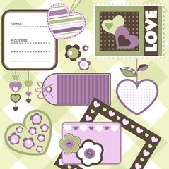 Valentine day scrapbook elements, vector