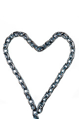 Links of a metal chain on a white background