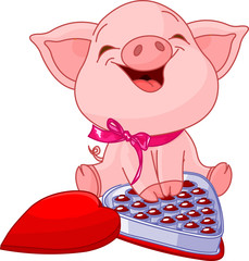 Poster Magie Pretty pig at Valentines Day