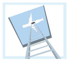 white airplane and big stairway
