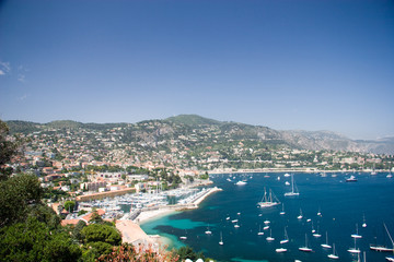 French Riviera lagoon with luxury yachts
