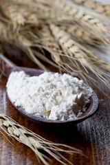 Mehl auf Holzlöffel