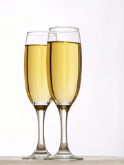 Two Champagne flutes, isolated on white. Clipping Path