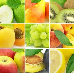 Collage from fresh fruit