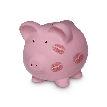 Sparschwein mit Lippenstiftabdruck