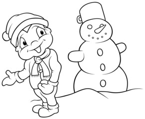Boy and Snowman - Black and White Cartoon illustration
