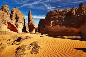 Bizarre sandstone cliffs in Sahara Desert, Tassili N'Ajjer, Alge