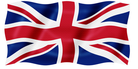 Bandera de Reino Unido ondeante