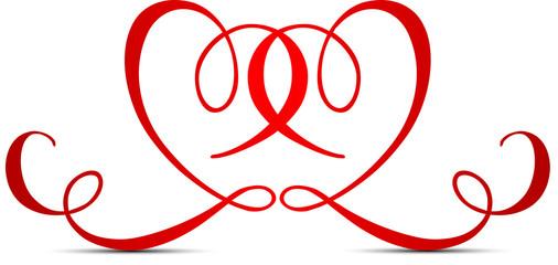 coeur amoureux sur fond blanc