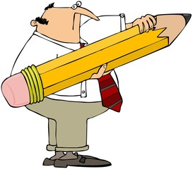 Man Holding A Giant Pencil
