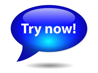 """TRY NOW!"" Speech Bubble Icon (specials web button free trial)"