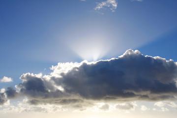 Sunlight behind a dark cloud