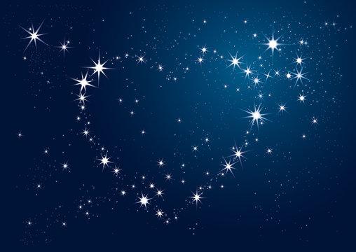 coeur étoiles nuit