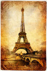 Fotomurales - Eiffel tower - retro picture