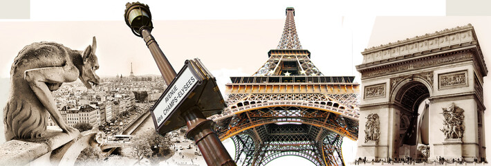 Fotomurales - great Parisian landmarks - touristic collage
