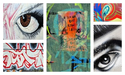 Printed kitchen splashbacks Graffiti collage le regard social