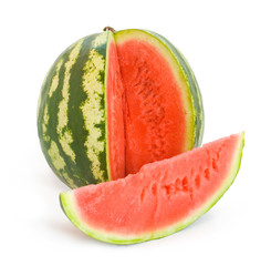 water melon with pulp and a slice