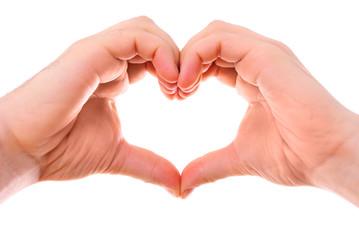 Male heart hands