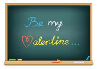 Drawing be my valentine by a chalk