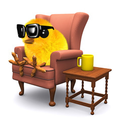3d Easter chick puts his feet up with a cup of tea