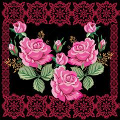 pink rose decoration in dark frame pattern