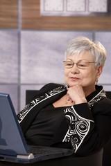 Senior businesswoman working with computer