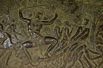 Cambodge, Angkor Vat : bas-relief Ramayana