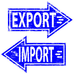 """Rubber stamp illustration showing """"IMPORT EXPORT"""" text"""