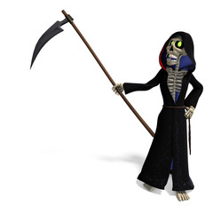 funny cartoon reaper. 3D rendering with clipping path and