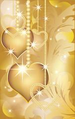 Golden love card, vector illustration