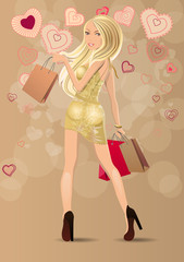 Beautiful blond carrying bags with stylized contour hearts