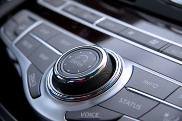 Close up shot of luxury car audio controls