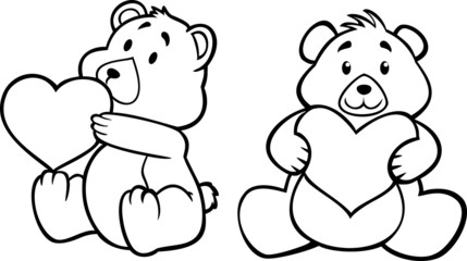 teddy bear hugging heart, black and white version