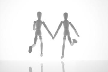 走るカップル