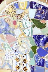 BARCELLONA, SPAIN-August 29: Detail of Park Guell, designed by