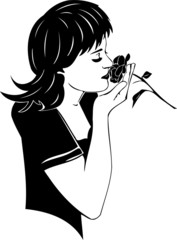 Beautiful Girl with a flower. Girls.