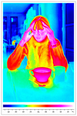 thermal imaging of suffering woman with cup of tea