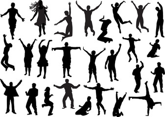 set of happy people silhouettes