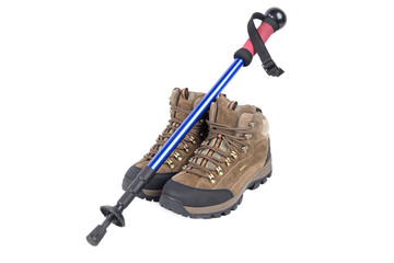 trekking shoes and hiking pole