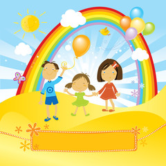 Door stickers Rainbow happy children celebrating