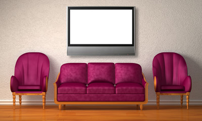 Two chairs with couch and lcd tv in minimalist interior