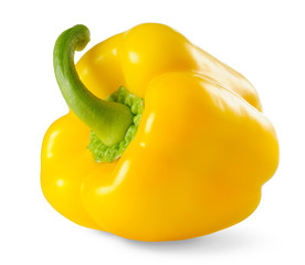 Isolated pepper. One yellow bell pepper isolated on white background