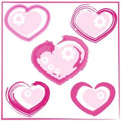 Cute doodles hearts set .