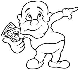 Character with Money - Black and White Cartoon illustration