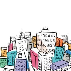 funky city doodle illustration