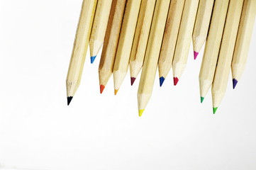 closeup of color pencils