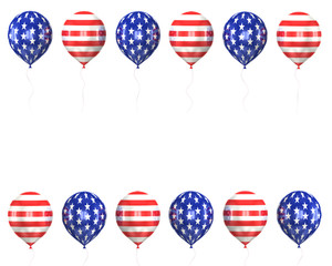 balls with symbols of the U.S. on a white background