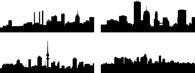 A collage of four different European city silhouettes