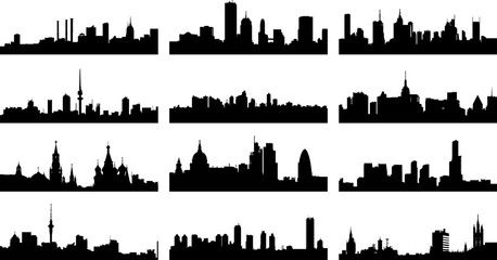 A collage of twelve different European city silhouettes