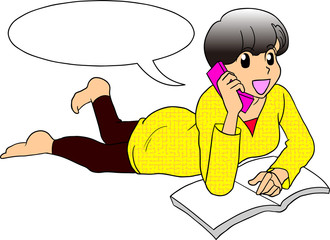 携帯電話でおしゃべり